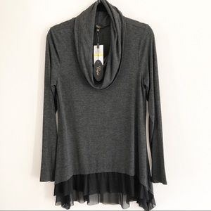 Cupio charcoal gray cowl neck tunic. Size M